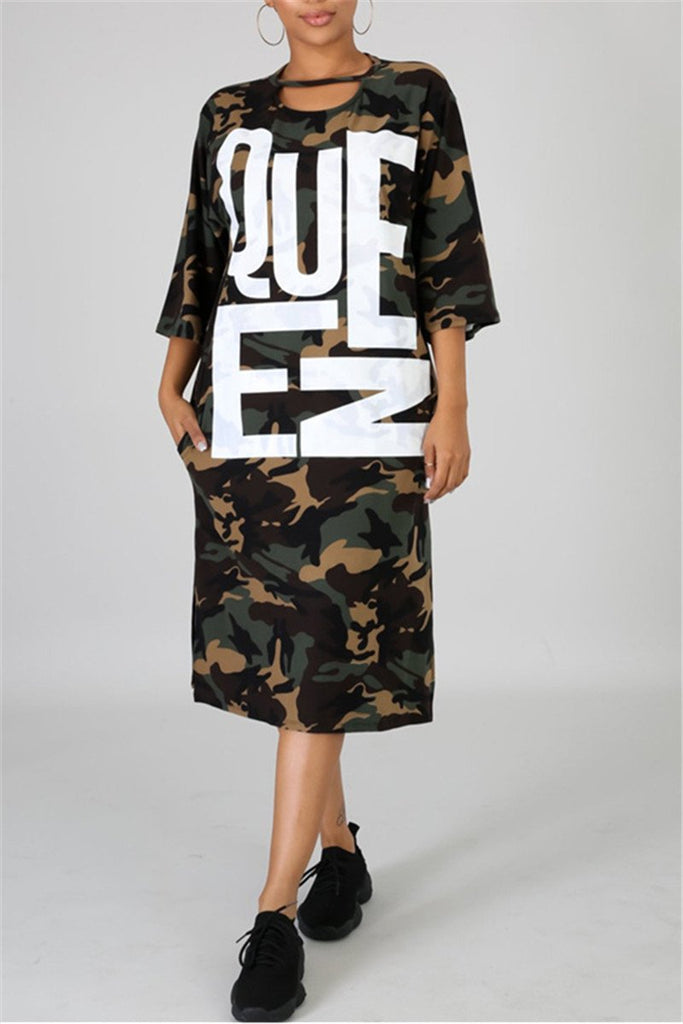 Camouflage & Letter Print Side Slit Casual Dress