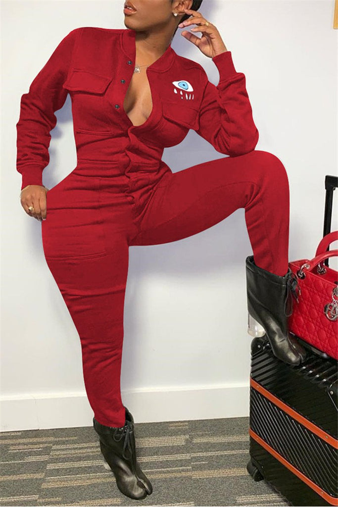 Button Up Long Sleeve Casual Jumpsuit