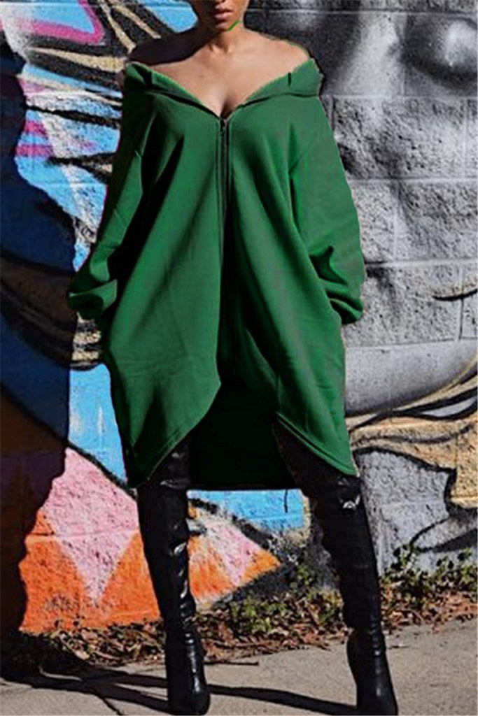 Zip Up Hooded Collar Asymmetric Coat