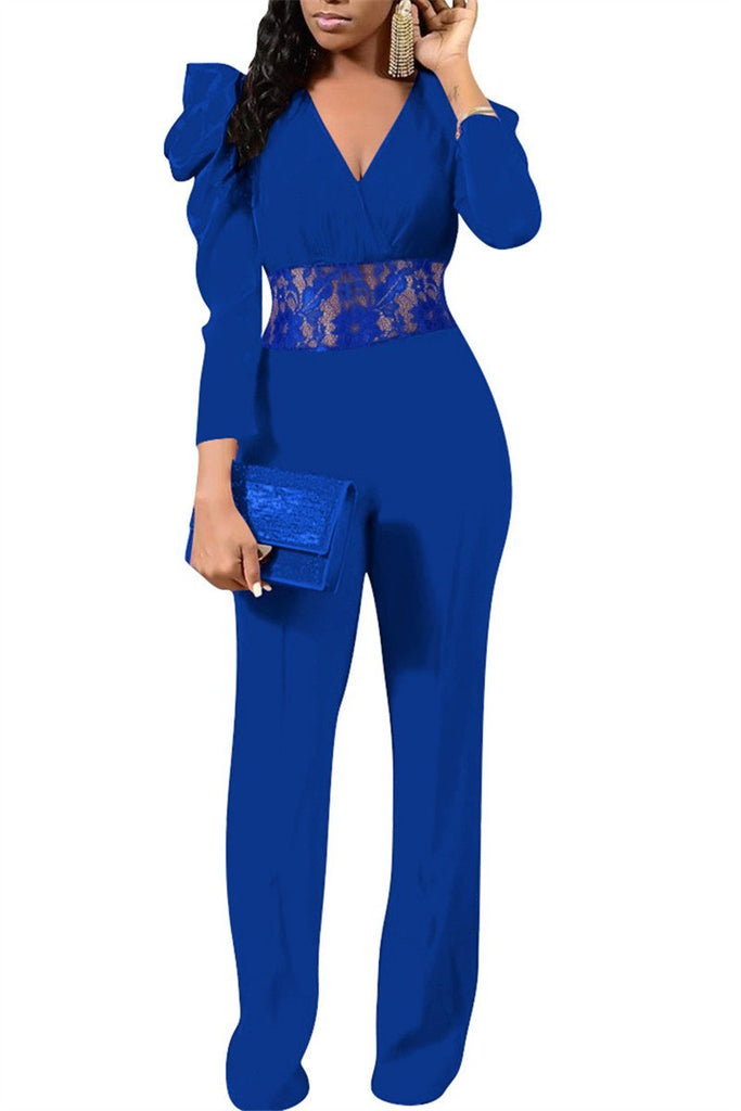 Puff Sleeve Lace Panel V neck Jumpsuit