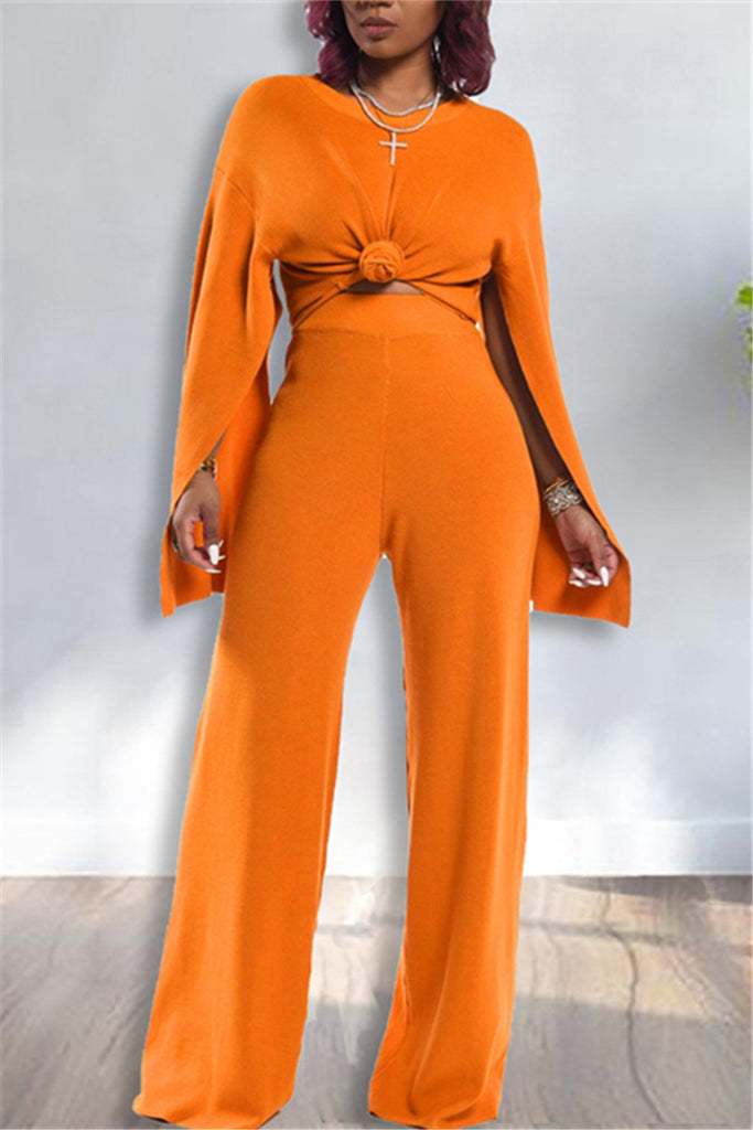 Slit Sleeve Solid Color Casual Two Piece Sets