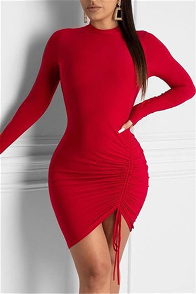 Solid Color Long Sleeve Drawstring Mini Dress