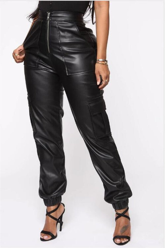 Zip Up Solid Color Pocket PU Pants
