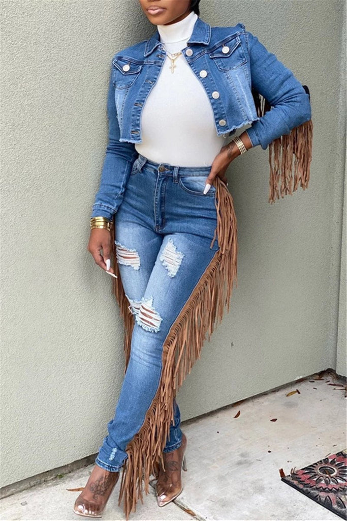 Tassels Decor Button Up Distressed Jacket & Jeans