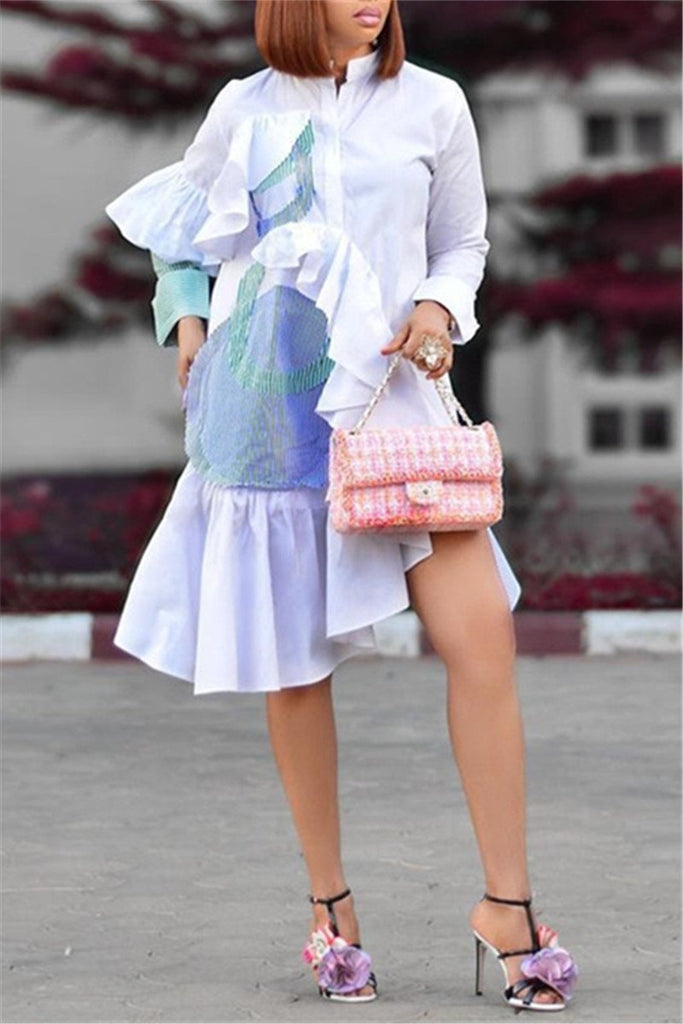 Ruffled Patchwork Long Sleeve Casual Dress