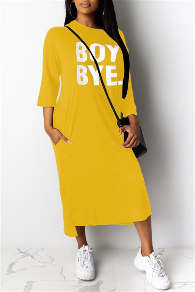 Letter Print Pocket Casual Dress