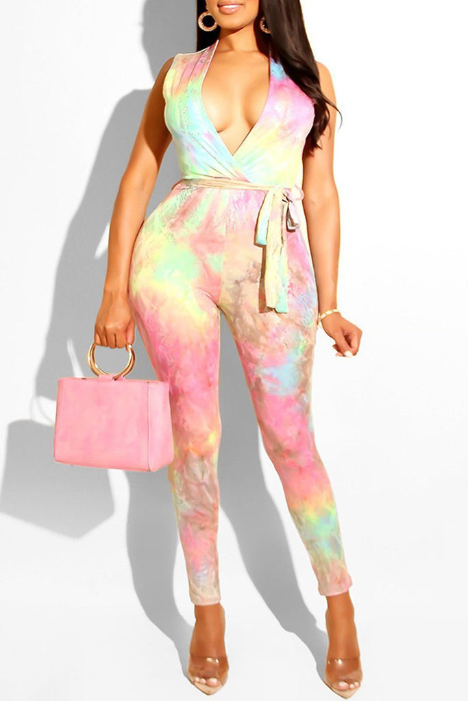 Tie Dye Sleeveless V-neck Belted Sexy Jumpsuit