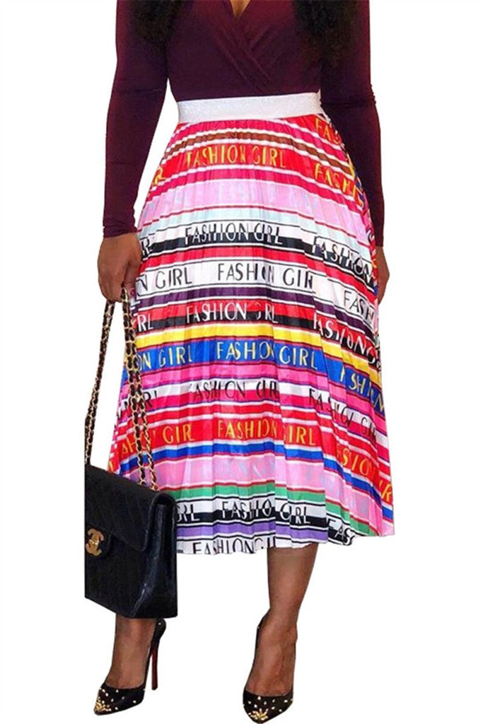 Lip & Letter Print Pleated Skirt