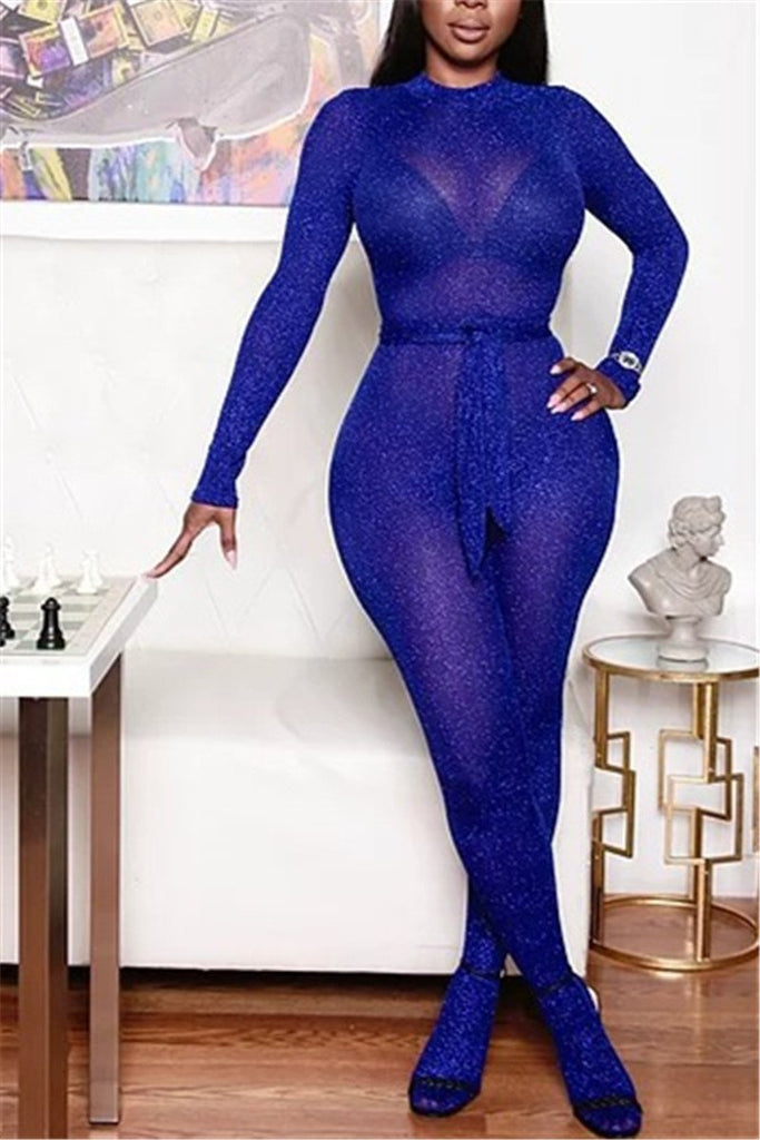Solid Color Semi Sheer Long Sleeve Jumpsuit
