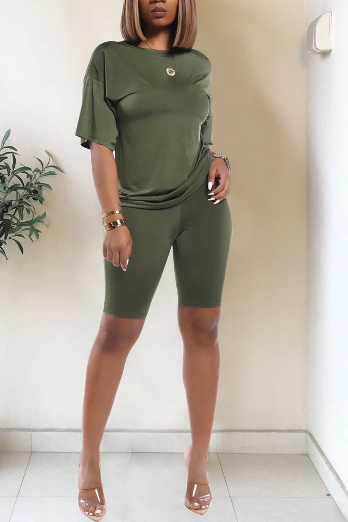 Solid Color Short Sleeve Casual Two Piece Outfits