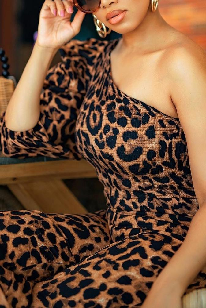 Leopard Print One Shoulder Jumpsuit