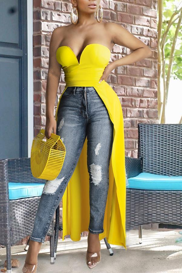 Solid Color Strapless Asymmetric Top