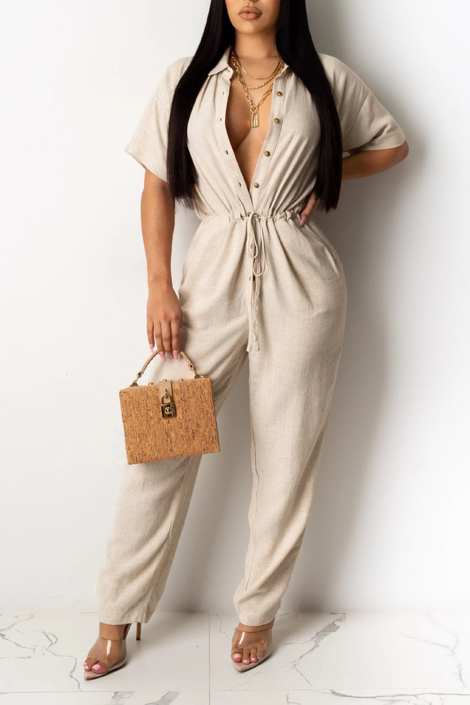 Plus Size Solid Color Short Sleeve Jumpsuit