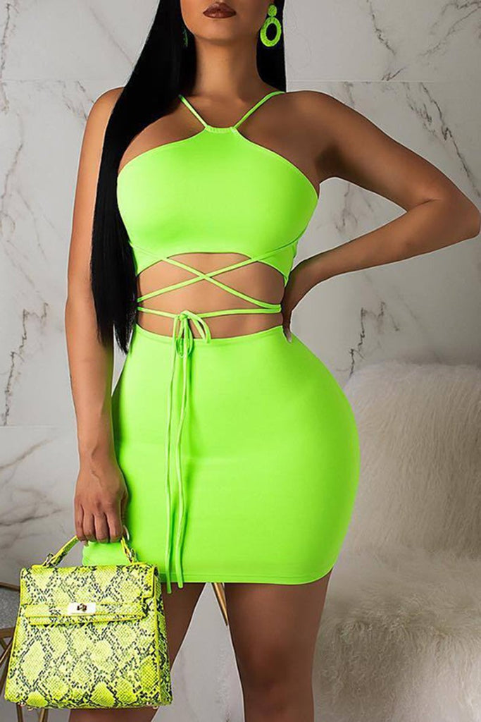 Bandage Fluorescent Color Halter Top & Skirt