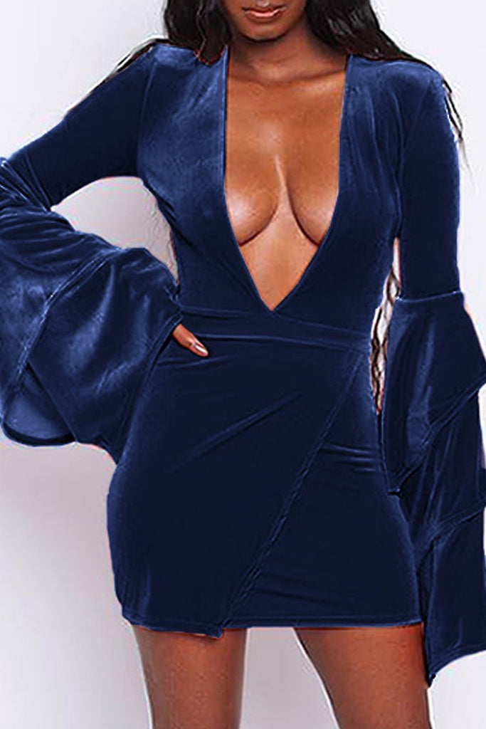 Plus Size Deep V Neck Flare Sleeve Mini Dress