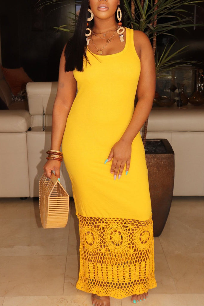Solid Color Sleeveless Pierced Maxi Dress