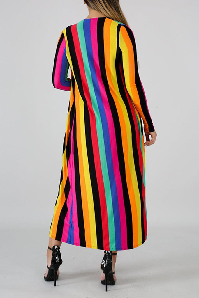 Rainbow Stripe Long Sleeve Casual Three Piece Sets