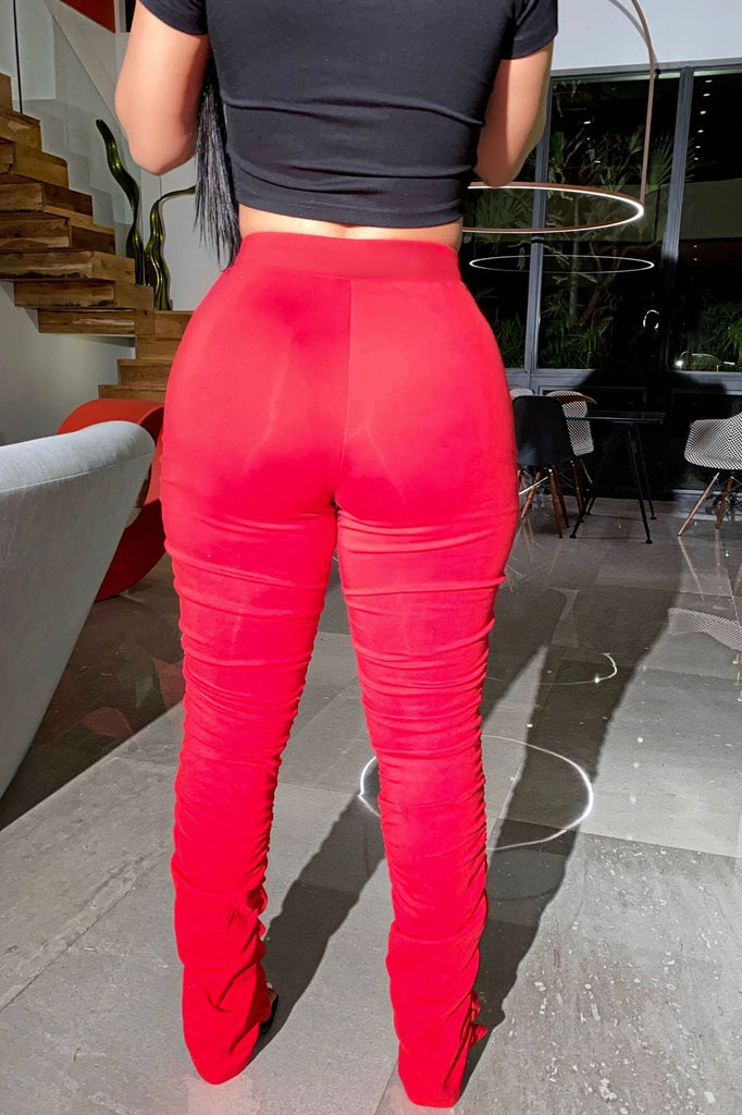 High Waist Solid Color Ruched Pants
