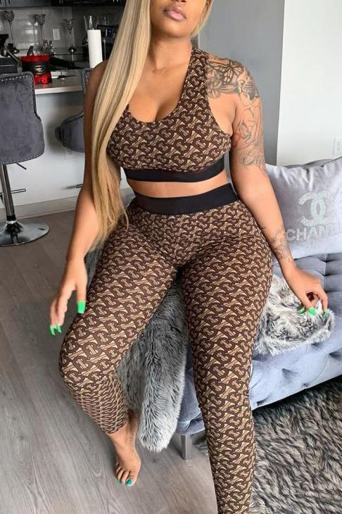 High Waist Sleeveless Printed Two Piece Sets