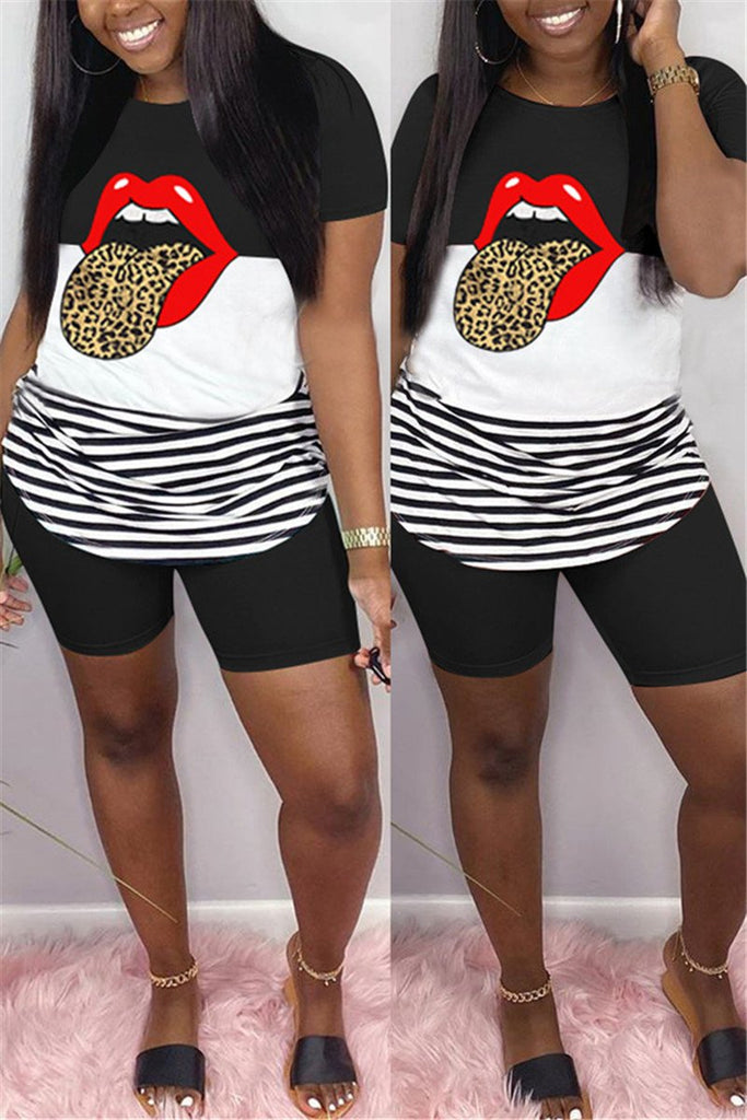 Plus Size Tongue Print Casual Two Piece Sets