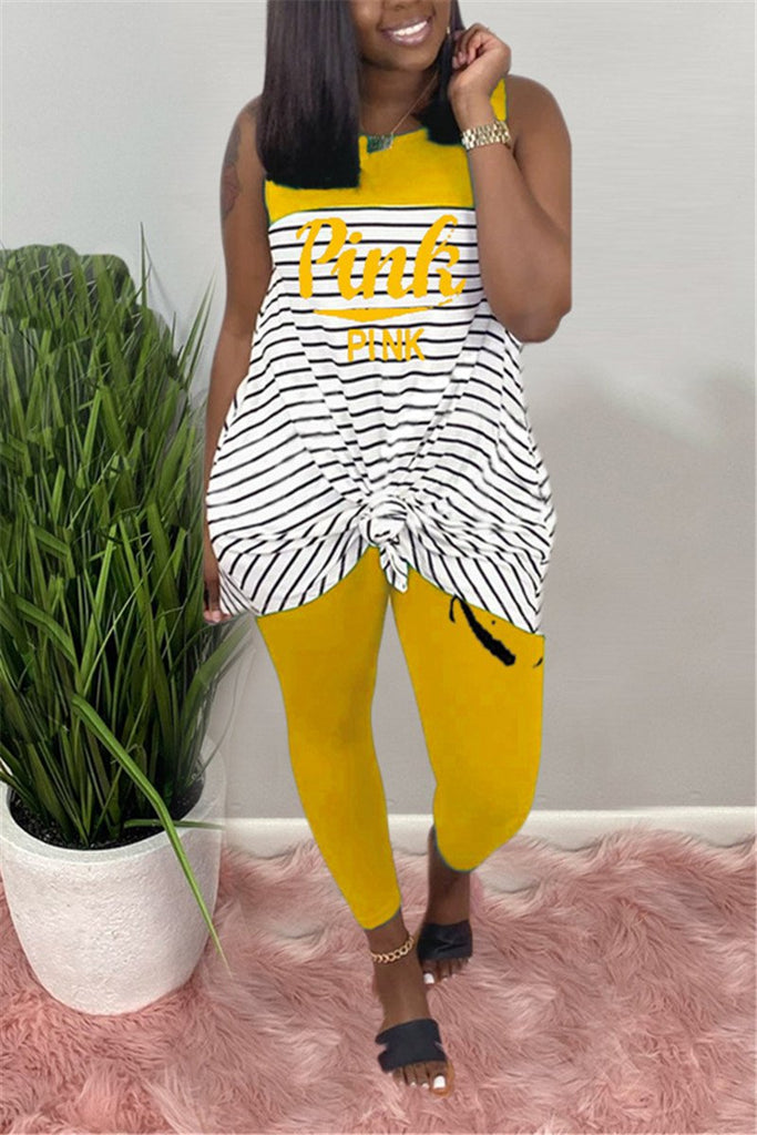Letter Print Striped Sleeveless Two Piece Sets