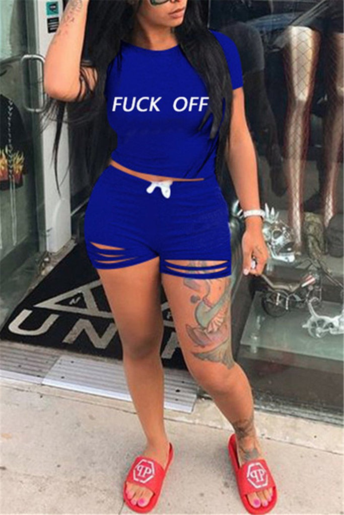 Distressed Letter Print Short Sleeve Top & Shorts