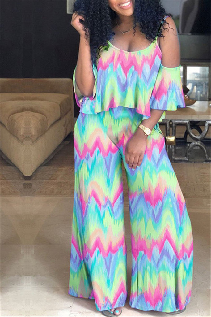 Ruffle Overlay Tie Dye Two Piece Outfits