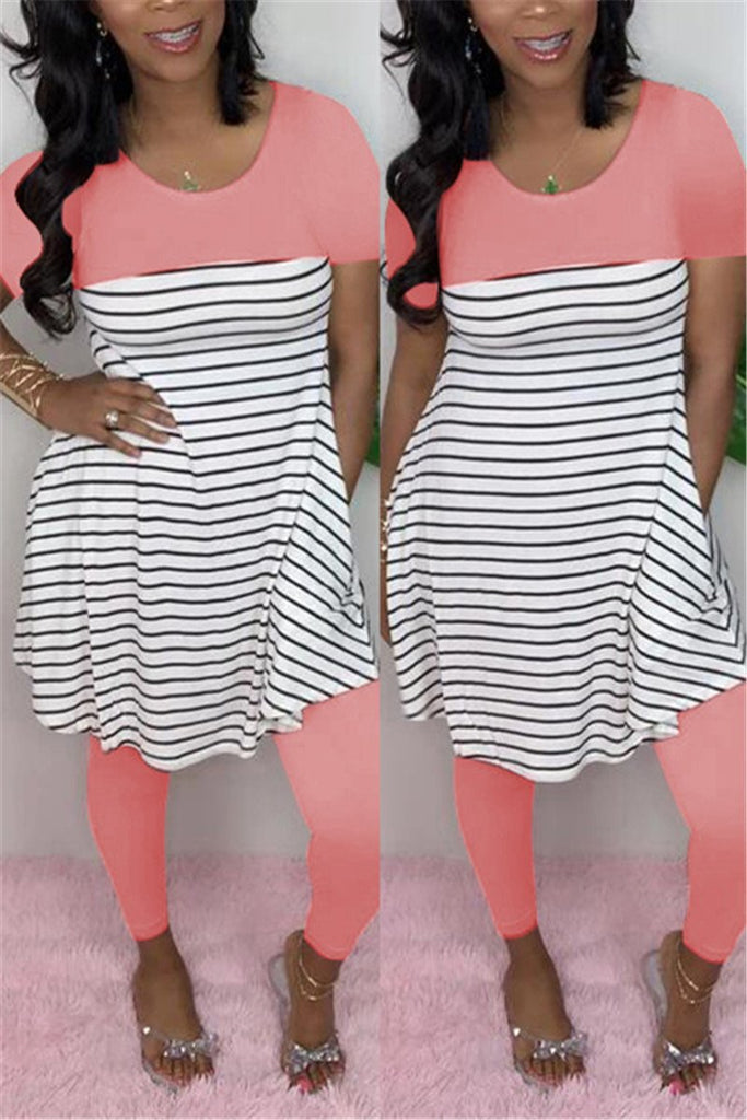 Stripe Print Patchwork Short Sleeve Two Piece Sets