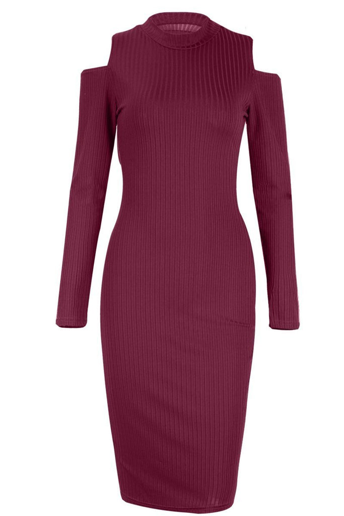 Solid Color Long Sleeve Cold Shoulder Bodycon Midi Dress