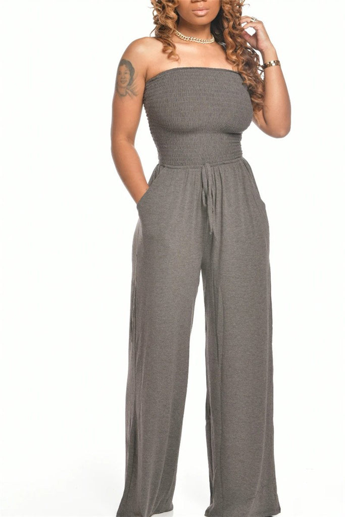 Elastic Bust Strapless Solid Color Jumpsuit