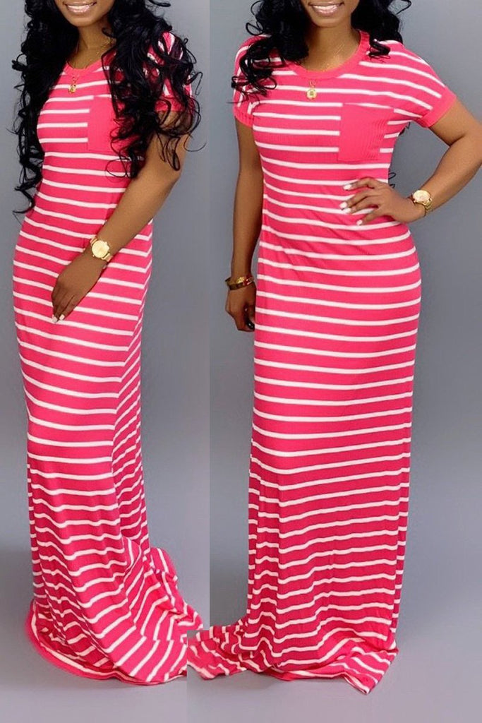 Casual Stripe Print Short Sleeve Maxi Dress