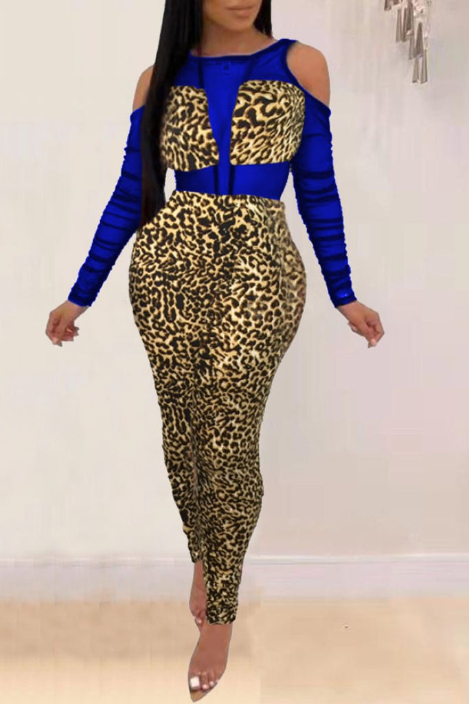 Cold Shoulder Leopard Print Net Yarn Splicing Jumpsuit
