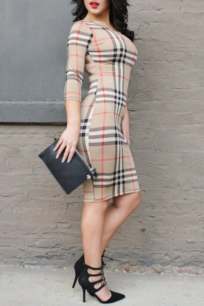 Round Neck Plaid Print Midi Dress