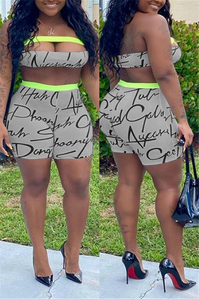 Hollow Out Letter Print Strapless Sexy Two Piece Sets