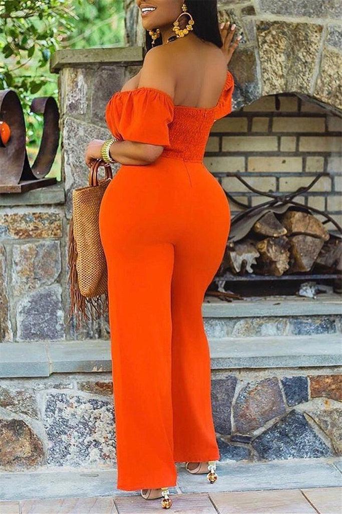 Off the Shoulder Hollow Out Solid Color Jumpsuit