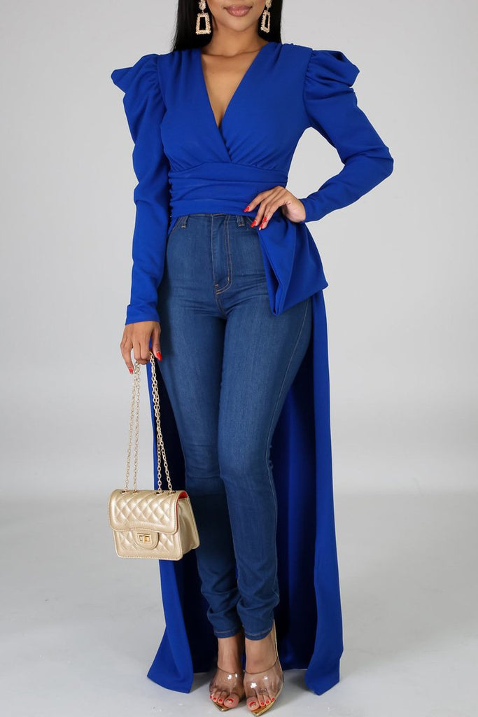 Asymmetric Hem V-neck Casual Blouse