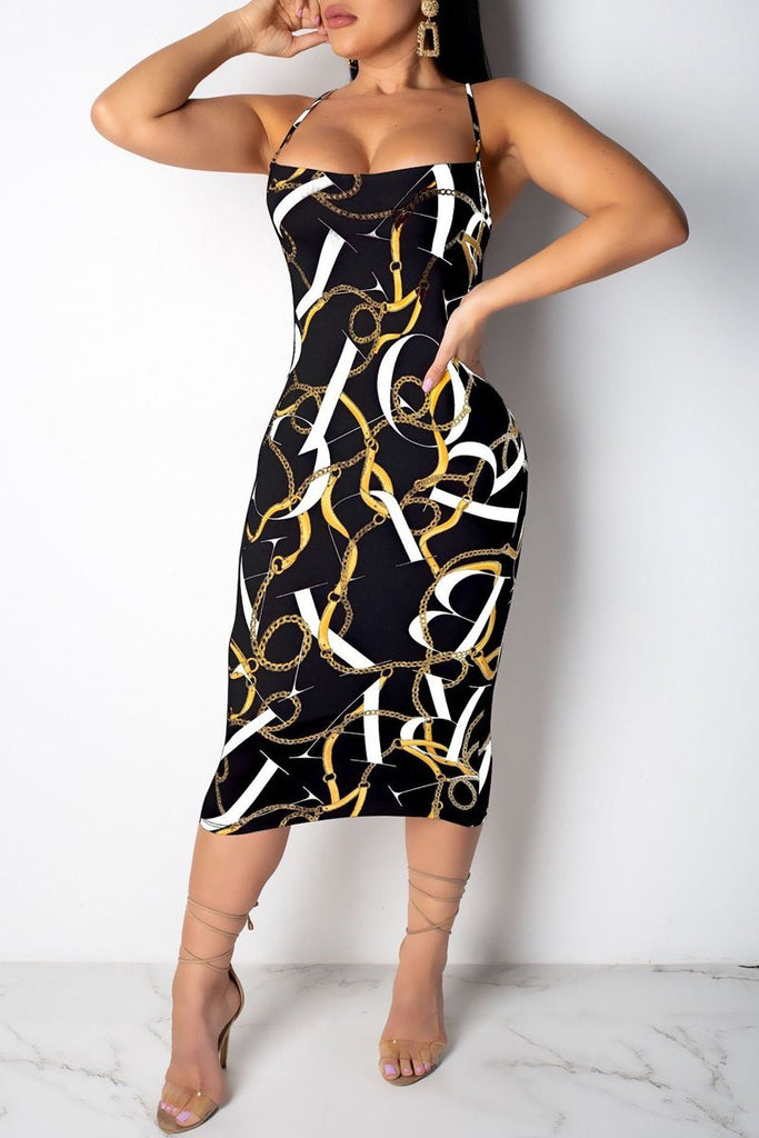 Open Back Sleeveless Printed Midi Dress