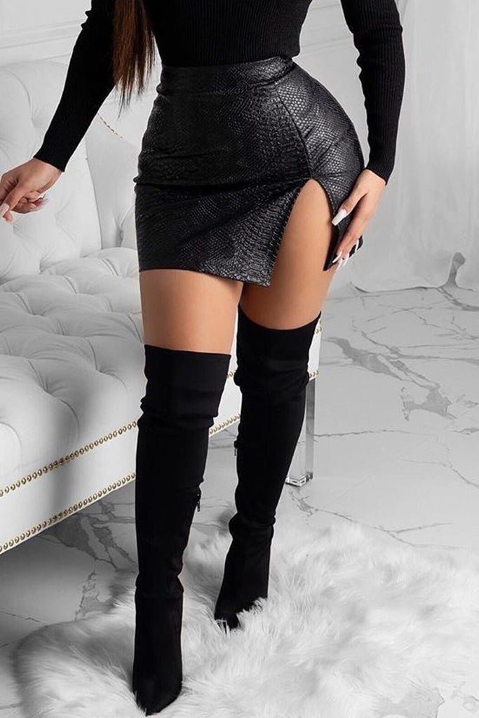 PU Snake Print Side Slit Mini Skirt