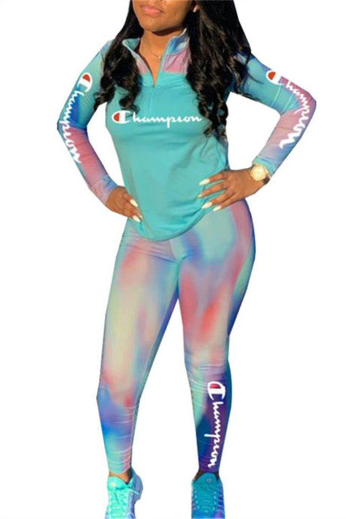 Quarter Zip Letter Print Long Sleeve Tie Dye Casual Two Piece Sets