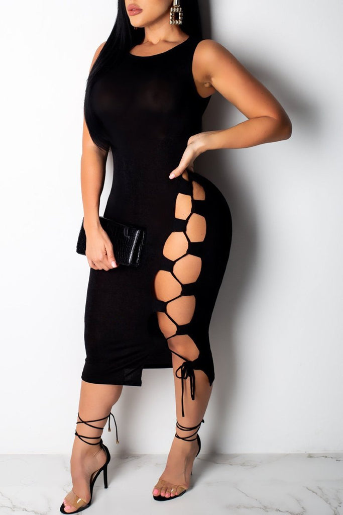 Hollow Out Lace-up Sleeveless Midi Dress