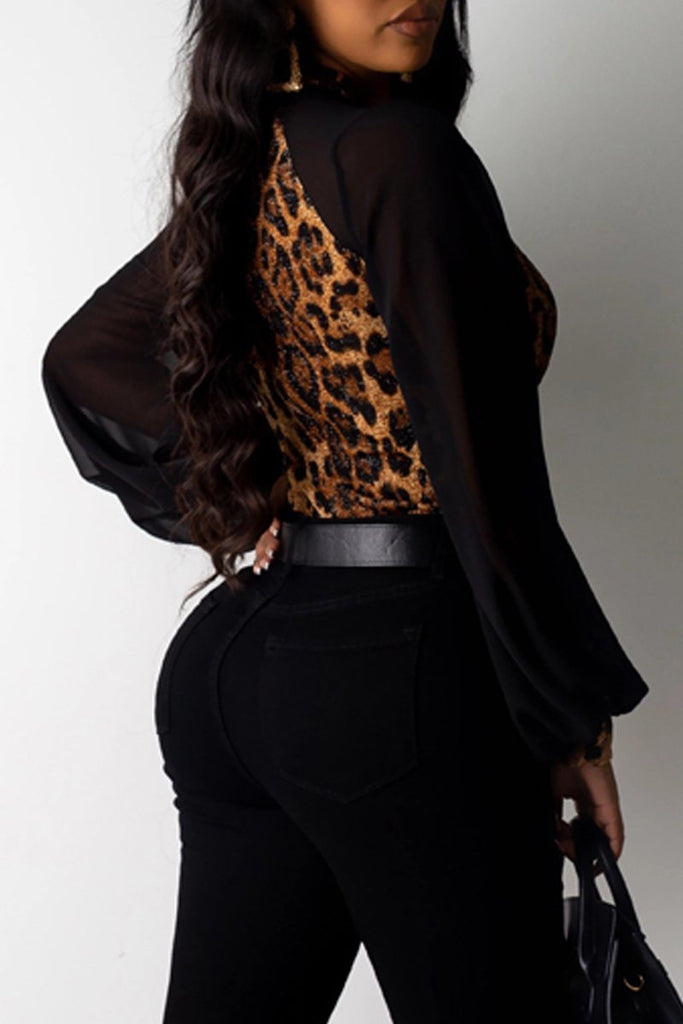 See-through Leopard Print High Neck Blouse