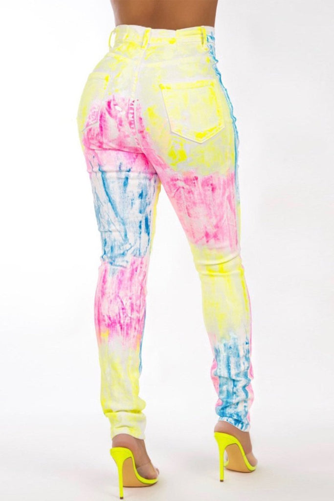 Casual Tie Dye Pocket Pencil Pants