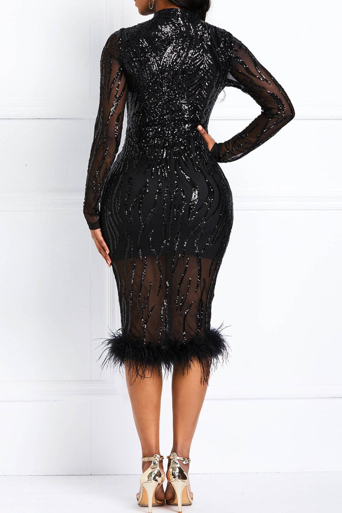 See-through Feather See-through Midi Dress