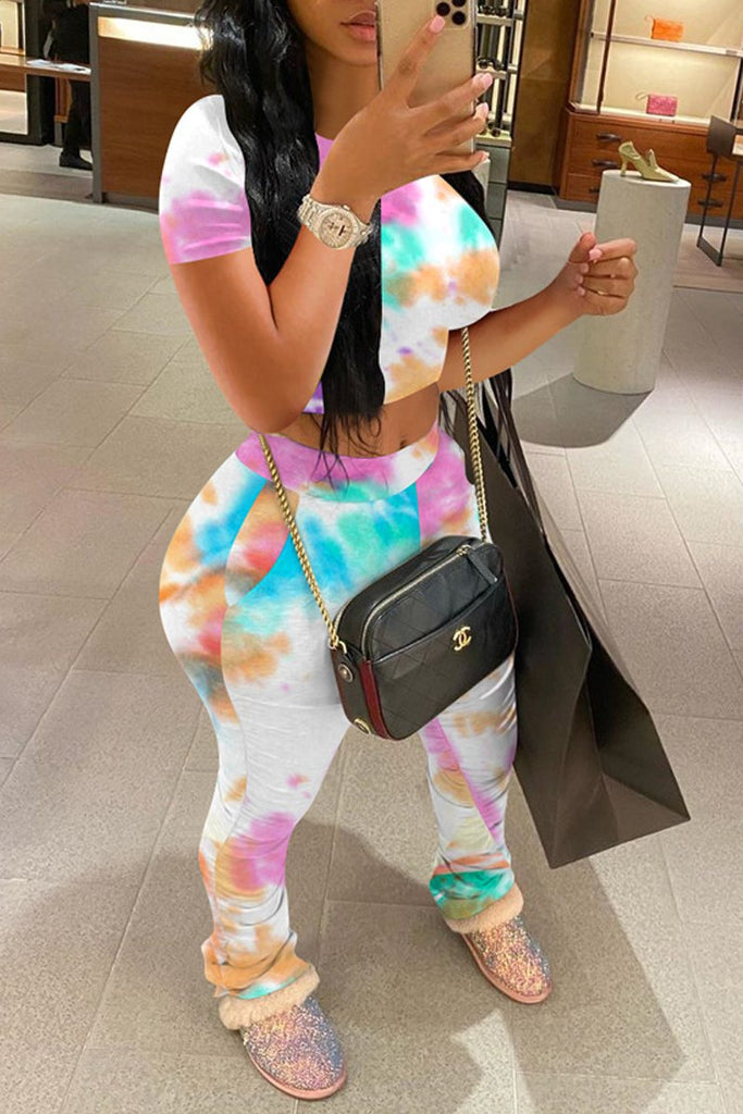 Wrinkled Tie Dye High Waist Two Piece Outfits