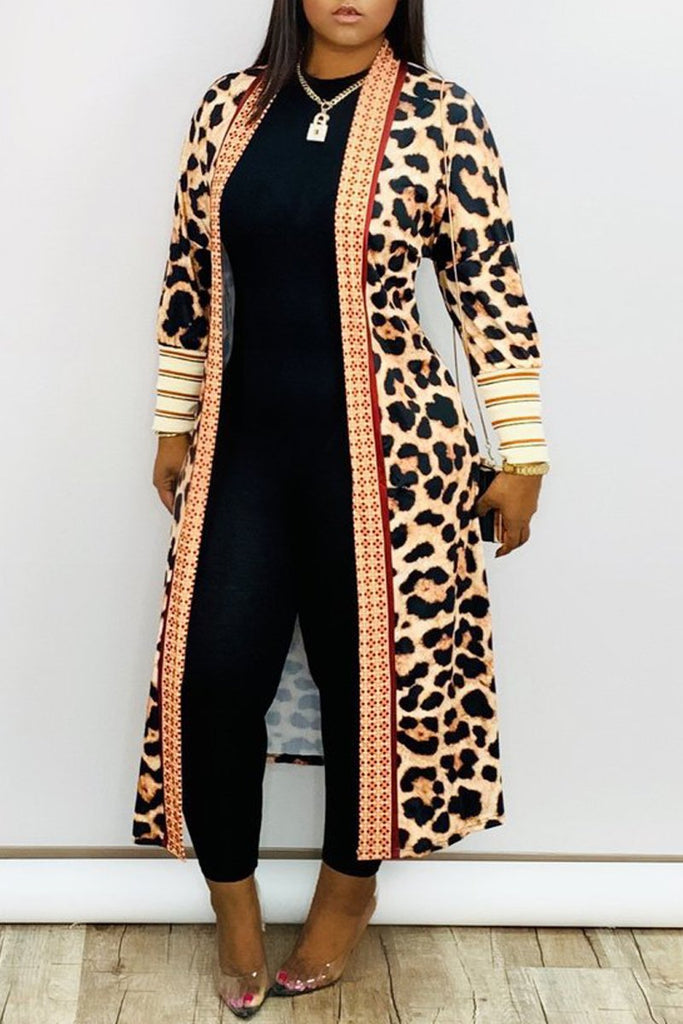 Digital Print Long Sleeve Cardigan Coat