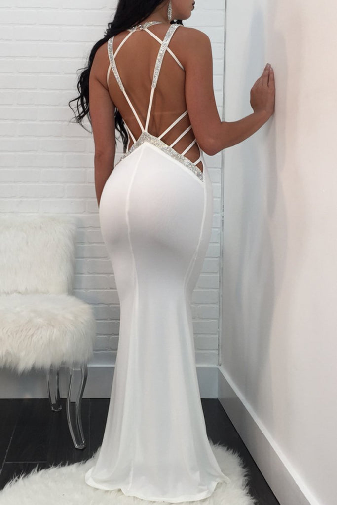 Open Back V-neck Sleeveless Party Maxi Dress