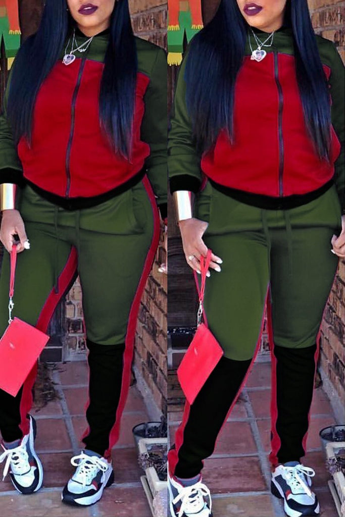 Color Block Zipper Drawstring Long Sleeve Top & Pants