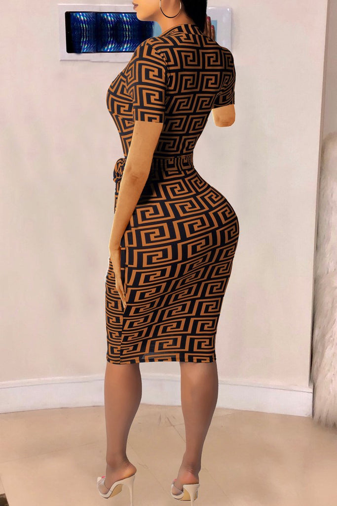 Casual Print Short Sleeve Zipper Belted Bodycon Midi Dress