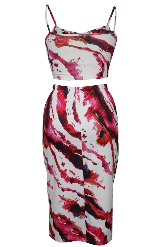 Sleeveless Print Bodycon Top & Midi Skirt