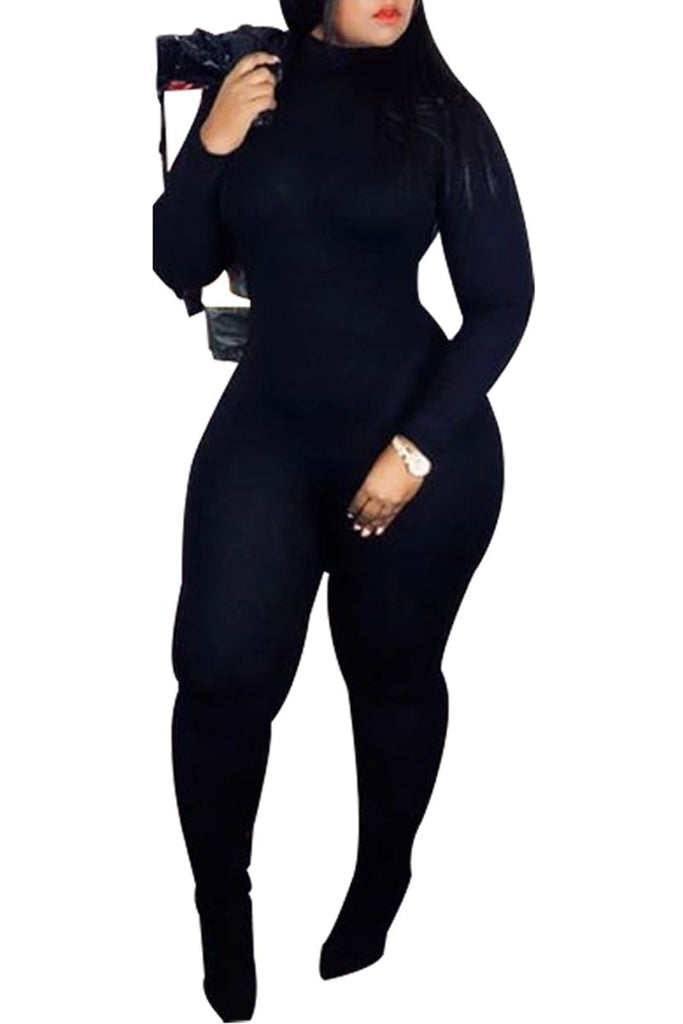 Solid Color Long Sleeve Bodycon Jumpsuit